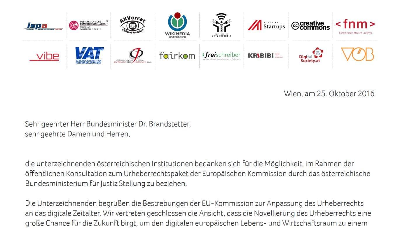 Gemeinsame Kritik an geplanter EU Urheberrechts Richtlinie (2016)
