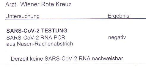 SARS-CoV-2 Testung negativ